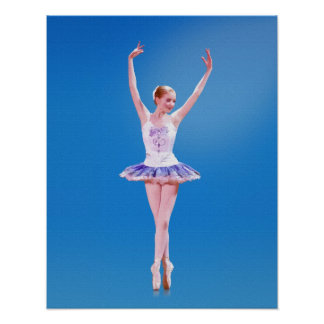 Ballerina on Point in White and Purple Poster