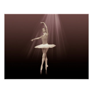 Ballerina On Pointe in Russet Tint Poster