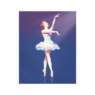 Ballerina On Pointe in Spotlight Canvas Print