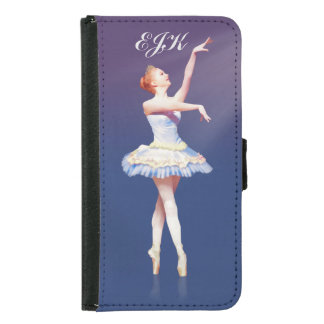 Ballerina On Pointe in Spotlight, Monogram Samsung Galaxy S5 Wallet Case