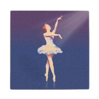 Ballerina On Pointe in Spotlight Wood Coaster