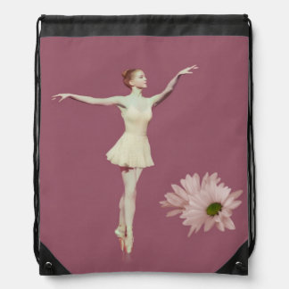 Ballerina On Pointe with Daisies, Monogram Drawstring Backpacks