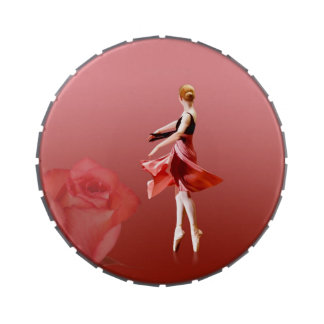 Ballerina On Pointe with Red Rose Candy Tins