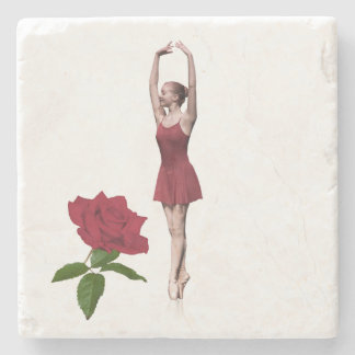 Ballerina On Pointe with Red Rose Customizable Stone Coaster