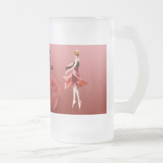 Ballerina On Pointe with Red Rose Frosted Glass Beer Mug