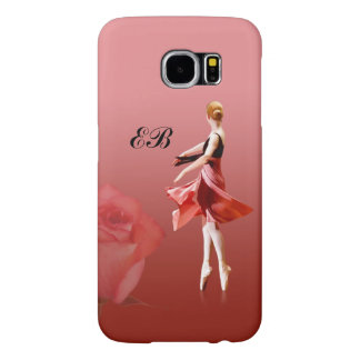 Ballerina On Pointe with Red Rose, Monogram Samsung Galaxy S6 Cases