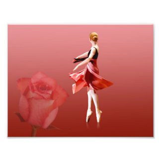 Ballerina On Pointe with Red Rose Photo