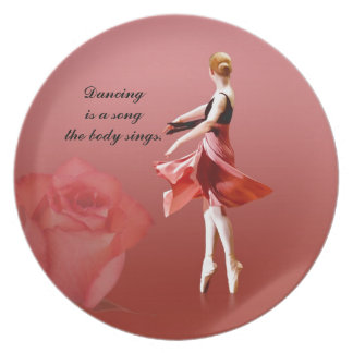 Ballerina On Pointe with Red Rose Plate