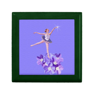 Ballerina on Purple with Violets and Star Gift Box