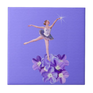 Ballerina on Purple with Violets and Star Tile