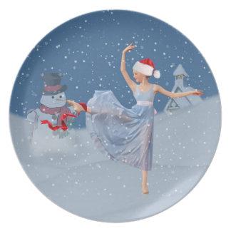 Ballerina on Snowy Night Christmas Plate