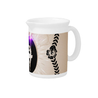 Ballerina on stripes background with light effects beverage pitcher