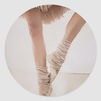 ballerina on tiptoe, with tule classic round sticker