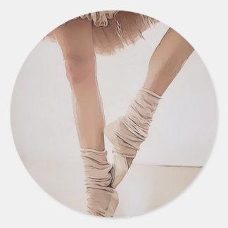 ballerina on tiptoe, with tule classic round sticker