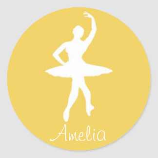 Ballerina on Yellow Round Stickers