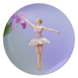 Ballerina, Orchid on Purple Plate