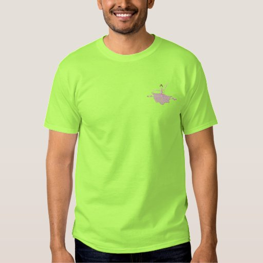 Ballerina Outline Embroidered T-Shirt