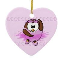 ballerina owl ceramic ornament