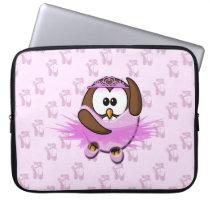 Ballerina owl - glitter computer sleeve