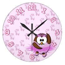 Ballerina owl - glitter large clock