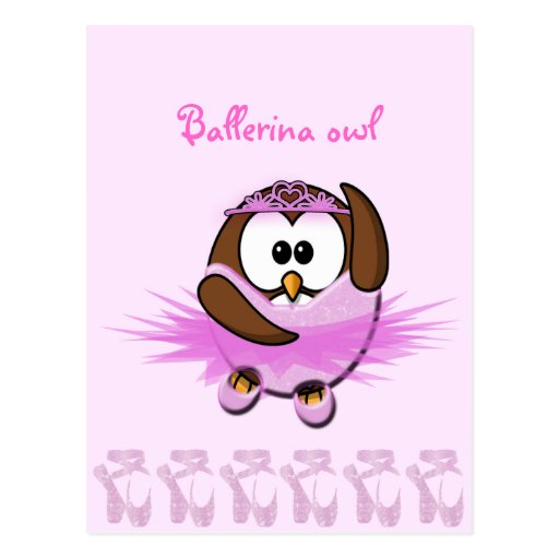 Ballerina owl - glitter post cards