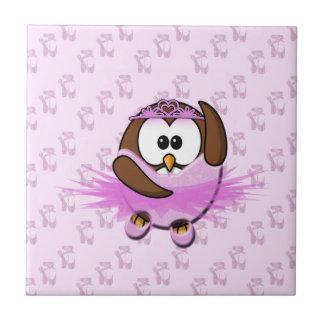 Ballerina owl - glitter tile