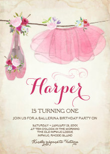 Ballerina Shoes Birthday Invitations