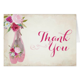 Ballerina Party Thank You Card Ballet Shoes
