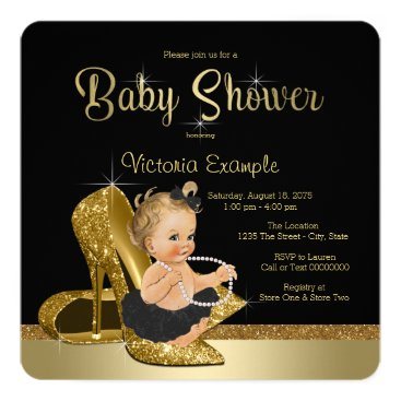 Ballerina Pearls Black Gold Shoe Baby Shower Card
