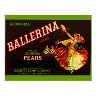 Ballerina Pears Postcard