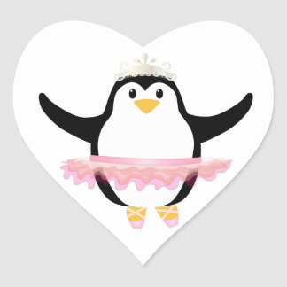 Ballerina Penguin Heart Sticker