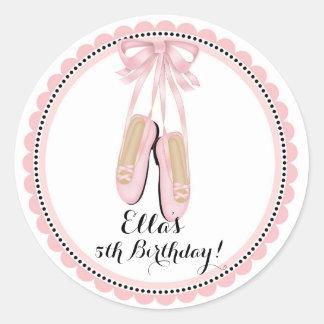 Ballerina Pink Birthday Party Favor Stickers