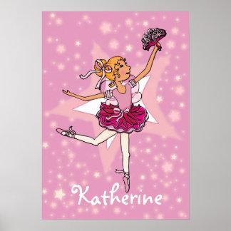 "Ballerina pink blonde hair girl star ""name"" poster"