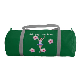 Ballerina, Pink Hibiscus Flowers, With Text Gym Duffel Bag