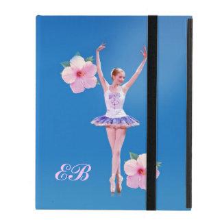 Ballerina, Pink Hibiscus, Monogram iPad Folio Cases