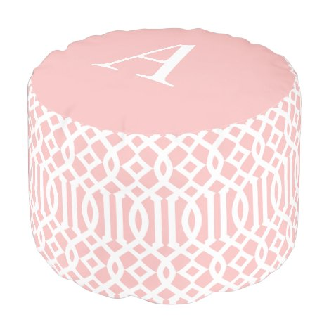 Ballerina Pink Monogram Trellis | Round Pouf