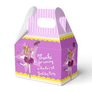 Ballerina pink purple birthday favor box
