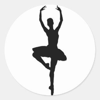 BALLERINA PIROUETTE (ballet dance silhouette) ~~ Classic Round Sticker