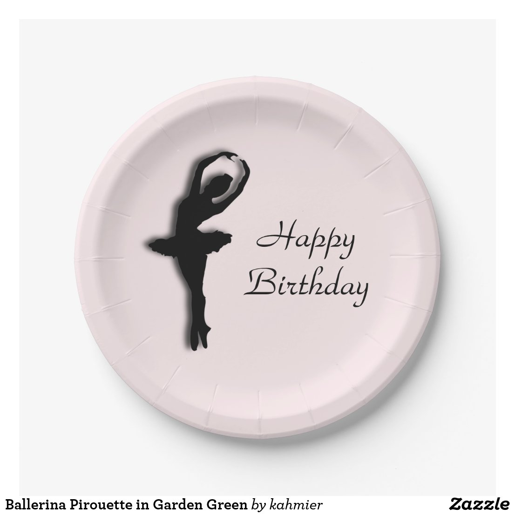 Ballerina Pirouette in Garden Green Paper Plate