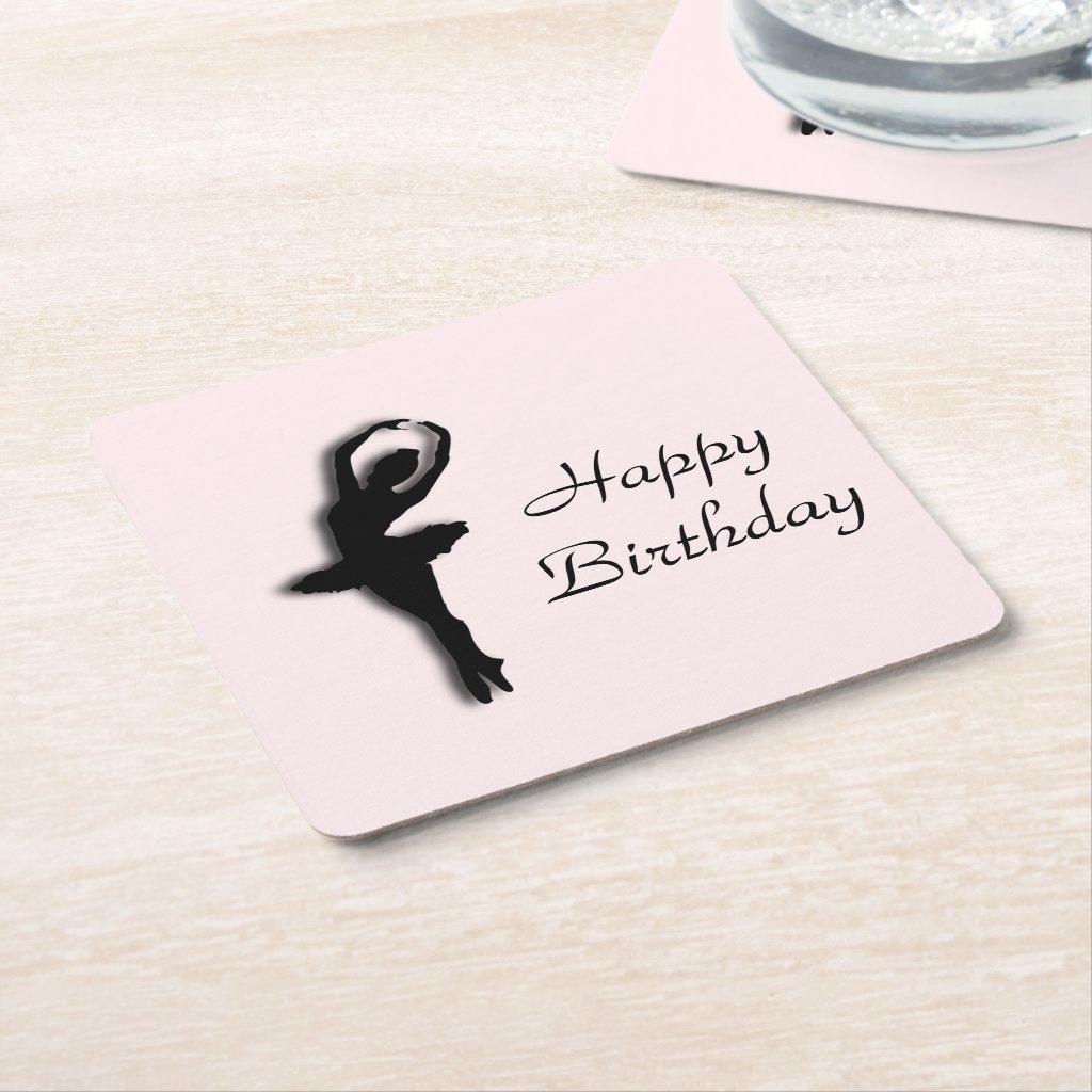 Ballerina Pirouette in Garden Green Square Paper Coaster