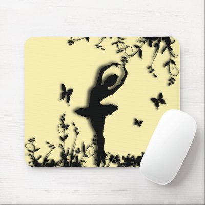 Ballerina Pirouette in Garden Yellow Mouse Pad