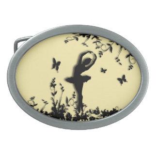 Ballerina Pirouette in Garden Yellow Oval Belt Buckle