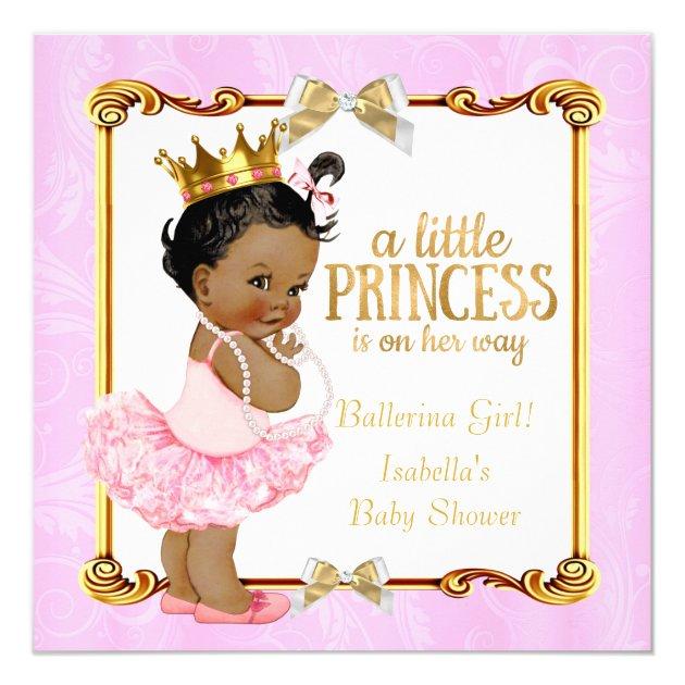 ballerina princess baby shower pink gold ethnic card   zazzle, Baby shower invitations