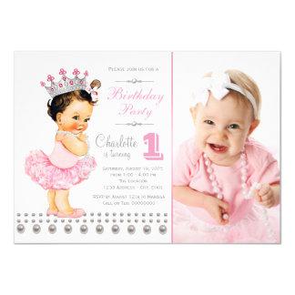 Ballerina Princess Pearl Girl Birthday Party Card
