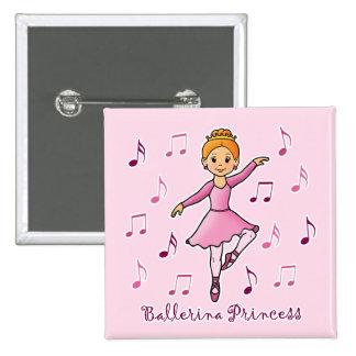 Ballerina Princess Pinback Buttons