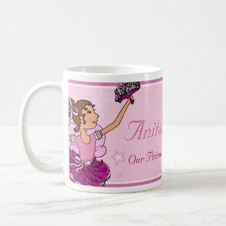 Ballerina princess pink and auburn hair girl mug mug