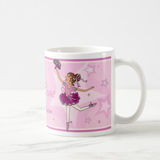 Ballerina princess pink and auburn hair girl mug