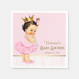 Ballerina Princess Pink Gold Baby Shower Paper Napkin