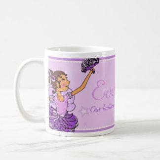 Ballerina princess purple and darh hair girl mug