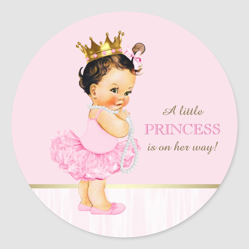 ... Ballerina Princess Tutu Baby Shower Classic Round Sticker